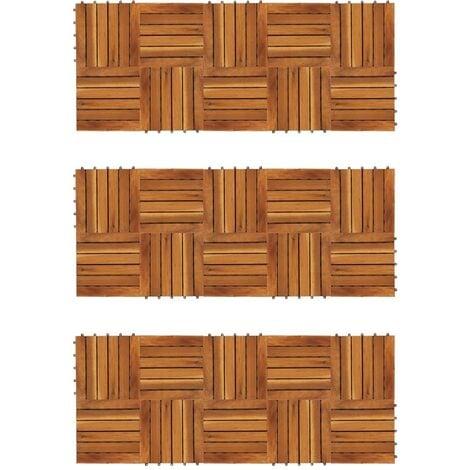 Baldosas de porche patrón vertical 30 piezas acacia 30x30 cm - Marrón
