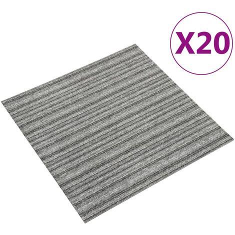 Baldosas de suelo de moqueta 20 uds 5 m² 50x50 cm rayas gris - Gris