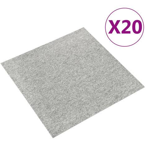 Baldosas de suelo de moqueta 20 uds 5 m2 50x50 cm gris claro