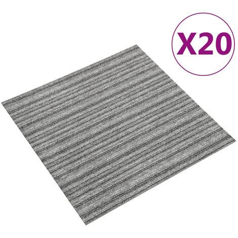 Baldosas de suelo de moqueta 20 uds 5 m2 50x50 cm rayas gris