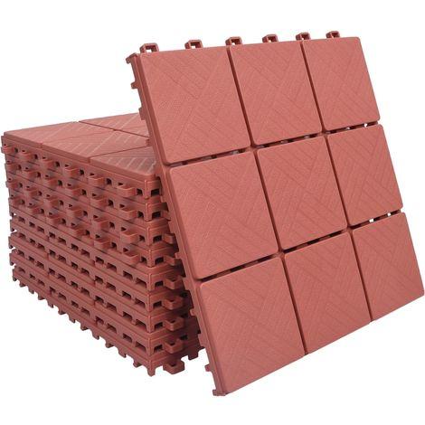 Baldosas de terraza 10 uds plastico rojo 30,5x30,5 cm