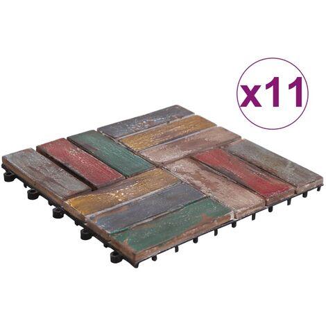 Baldosas de terraza 11 uds madera maciza reciclada 30x30 cm