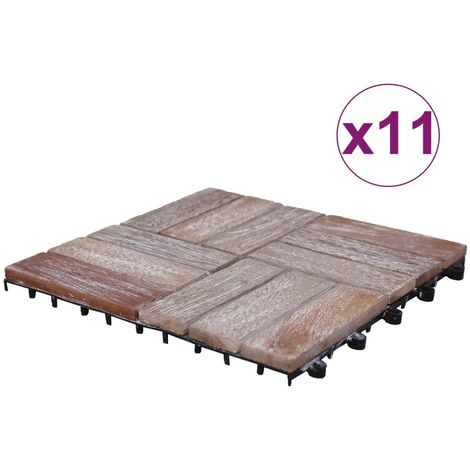 Baldosas de terraza 11 uds madera maciza reciclada 30x30 cm - Marrón