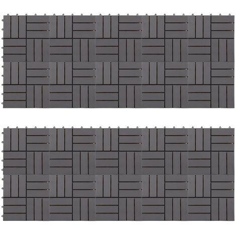 Baldosas de terraza 20 uds madera acacia gris deslavado 30x30cm