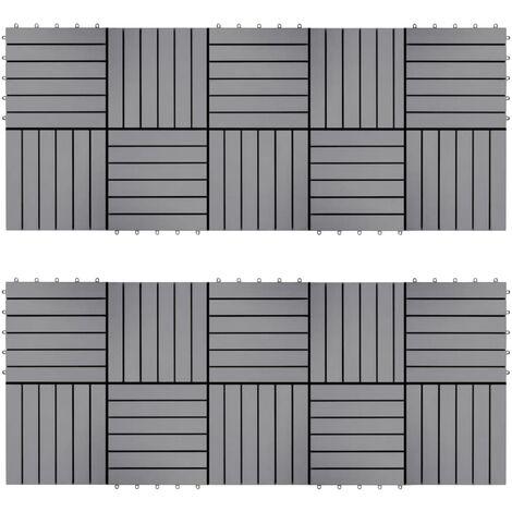 Baldosas de terraza 20 uds madera maciza acacia gris 30x30 cm