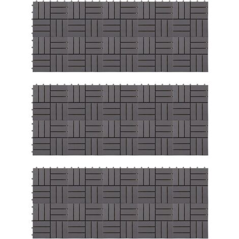 Baldosas de terraza 30 uds madera acacia gris deslavado 30x30cm