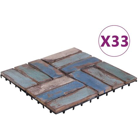 Baldosas de terraza 33 uds madera maciza reciclada 30x30 cm