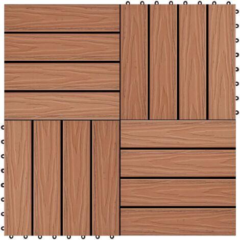 Baldosas porche relieve profundo WPC 1 m² marrón claro 11 uds