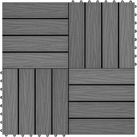 Baldosas porche relieve profundo WPC 30x30 cm 1 m² gris 11 uds