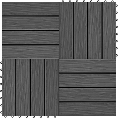 Baldosas porche relieve profundo WPC 30x30 cm 1 m² negro 11 uds