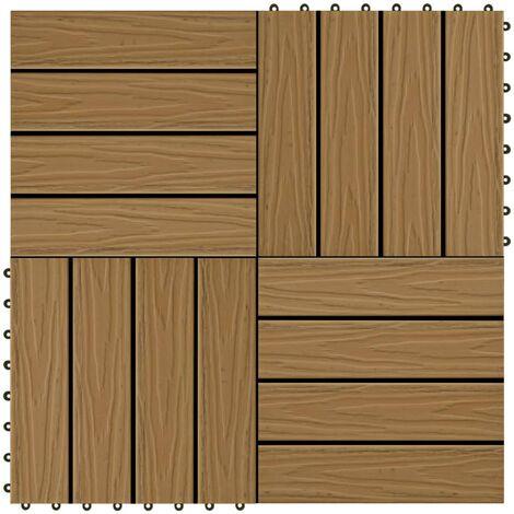 Baldosas porche relieve profundo WPC 30x30 cm 1 m² teca 11 uds