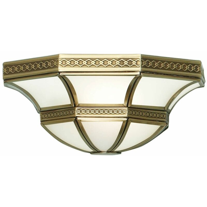 Image of 12-interiors 1900 - Balfour wall lamp, antique brass and frosted glass