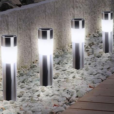 Balise solaire design inox X4 borne de jardin - 12626