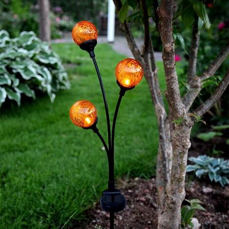 Balise solaire LED Trio Globes ambrée
