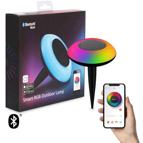Baliza LED Solar Smart Bluetooth con Pincho RGBW IP65 0.4W RGBW
