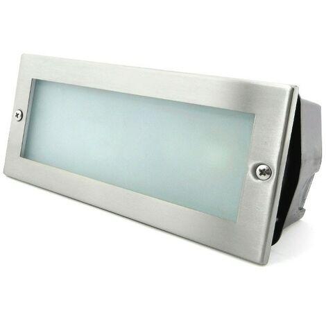 Baliza rectangular acero inox. con cristal mateado 40W E27