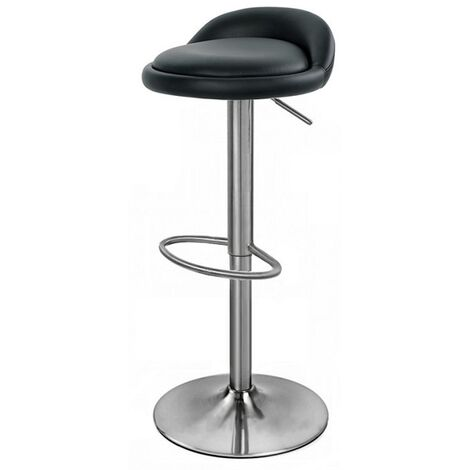 Balkan Adjustable Bar Stool With Faux Leather Seat And Brushed Chrome Base Black