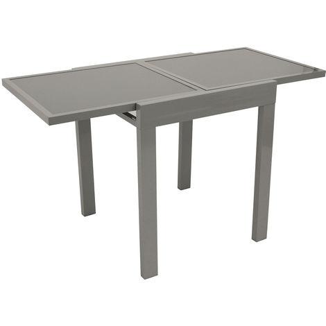 Balkon-Ausziehtisch AMALFI 65/130x65cm, Aluminium + Glas