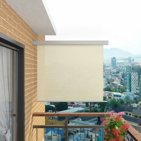 Balkon-Seitenmarkise Multifunktional 150×200 cm Creme