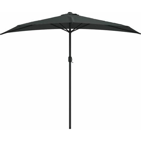 Balkon-Sonnenschirm mit Alu-Mast Anthrazit 270×135 cm Halbrund
