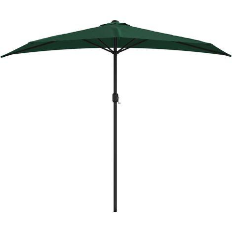 Balkon-Sonnenschirm mit Alu-Mast Grün 270×135 cm Halbrund