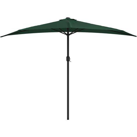 Balkon-Sonnenschirm mit Alu-Mast Grün 300×150 cm Halbrund