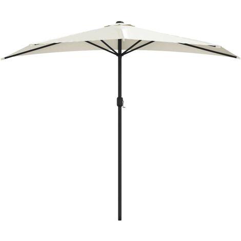 Balkon-Sonnenschirm mit Alu-Mast Sandfarben 270×135 cm Halbrund