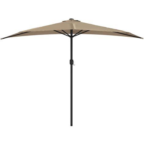 Balkon-Sonnenschirm mit Alu-Mast Taupe 300×150 cm Halbrund