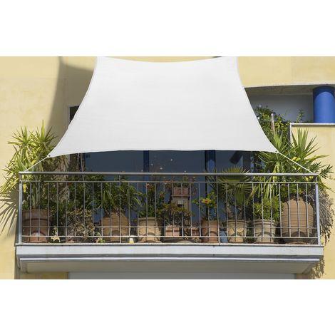 Balkon-Sonnensegel 270 x 140cm cremeweiß aus Schattierungsgewebe HDPE