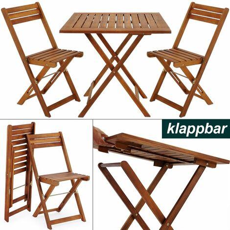 Balkonset 3-TLG Akazien Holz 2X Klappstuhl + 1 Tisch 60x60cm klappbar Balkon Garten Möbel Bistroset Sitzgruppe braun