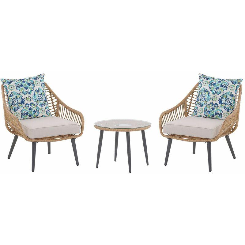 Balkonset Beige Rattan 2 Stühle 1 Couchtisch 2 Auflagen im Ikat-Muster Gartenmöbelset Terasse Balkon - BELIANI