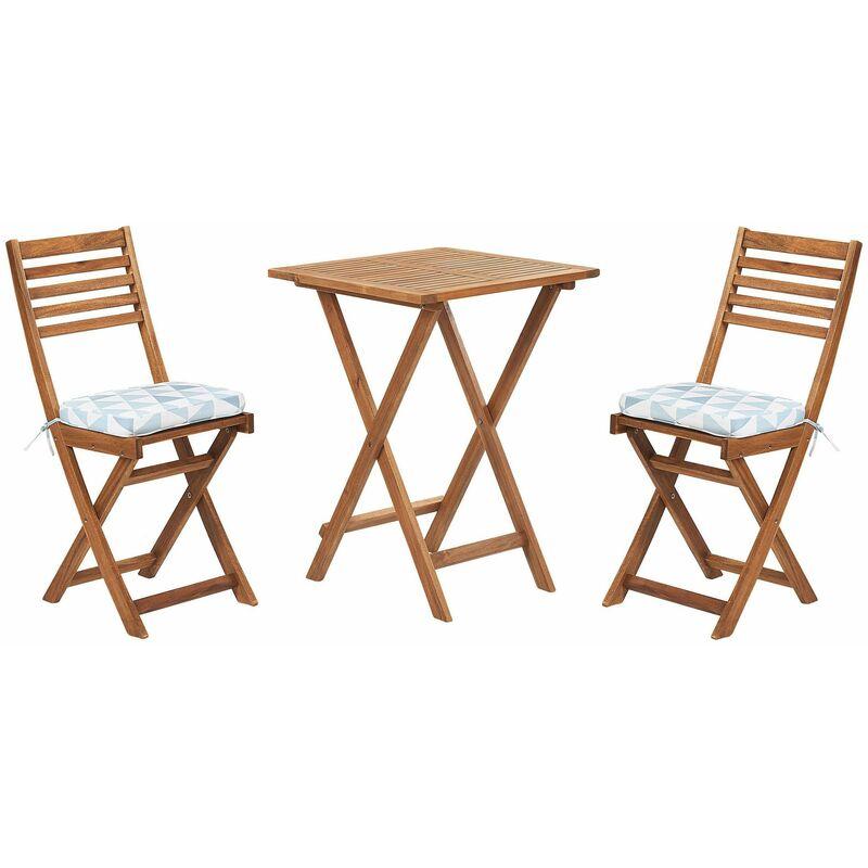 Balkonset Braun Akazienholz 2 Stühle 1 Teetisch 2 Auflagen im geometrischen Muster Gartenmöbelset - BELIANI