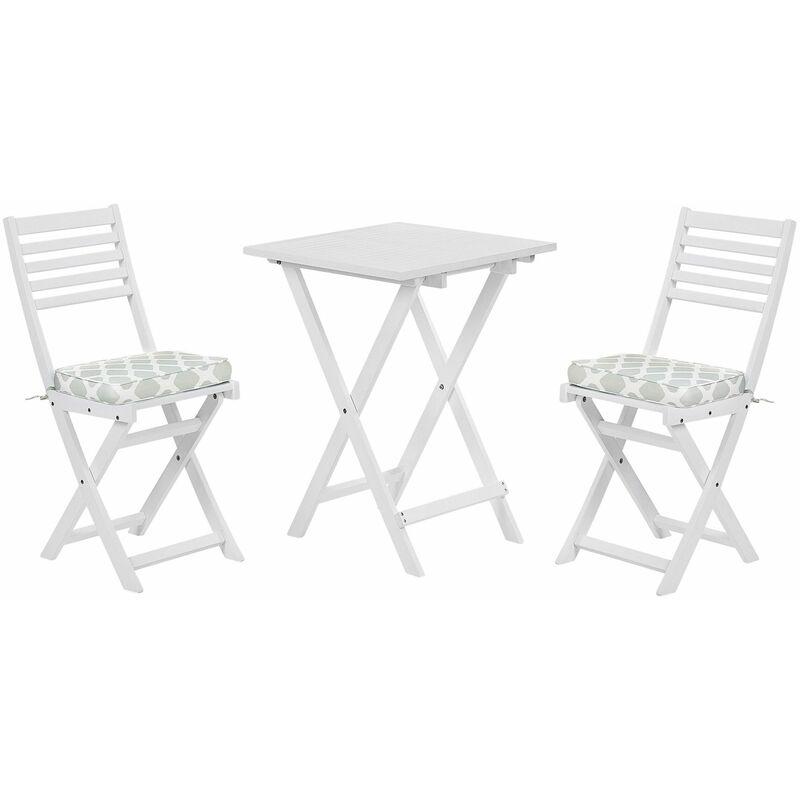 Balkonset Weiß Akazienholz 2 Stühle 1 Teetisch 2 Auflagen im geometrischen Muster Mintgrün Gartenmöbelset - BELIANI