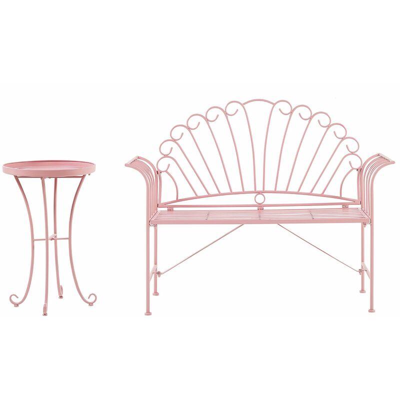 Bistro Set Metall Bank mit Beistelltisch Rosa Balkonset Gartenmöbel für Garten für Terrasse - BELIANI