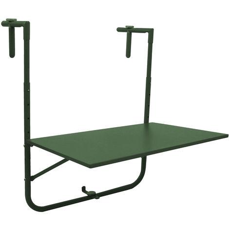 Balkontisch 60x40cm Grün, Tischplatte klappbar und 4-fach höhenverstellbar, Hängetisch Gartentisch Klapptisch