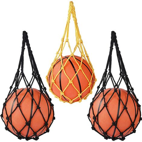 Ball Net Bag, Net Mesh Satchel Carry Storage for Football Basketball Volleyball Hand-woven Tote Nylon Mesh Pouch (3 Pieces)