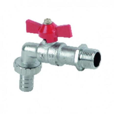 Ball valve garden tap, hose connector 1/2? 3/4?