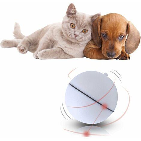 Balle de jouet interactive pour chat, jouet de lumière automatique à boule auto-rotative à 360 degrés pour animal de compagnie (9 piles LR44 incluses, blanc)