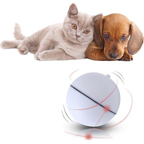 Balle de jouet interactive pour chat, jouet léger automatique à boule auto-rotative à 360 degrés pour animal de compagnie (9 piles LR44 incluses, blanc)