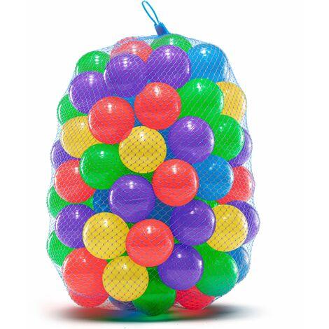 Balles en Plastique Souple pour Piscines à Balles, Trampoline, Tente de Jeu, Jeux Intérieurs et Extérieurs | Anti-écrasement, non Toxiques, Sans Phtalate et BPA | 100 Boules Colorées