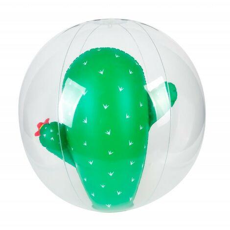 Ballon Gonflable ø41 cm pour Piscine & Plage, Accessoire d'Eau - Design Cactus - Vert
