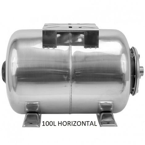 Ballon surpresseur 100l horizontal INOX, cuve, réservoir surpresseur