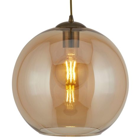 BALLS 1 LIGHT ROUND PENDANT (25cm dia), AMBER GLASS, ANTIQUE BRASS