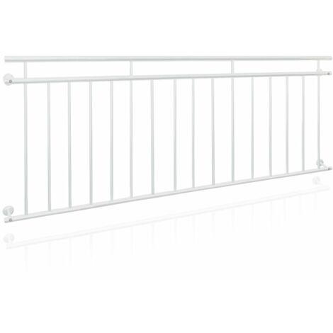 Balustrade balcon français couleur blanche 225x90cm rambarde tige grille fenêtre