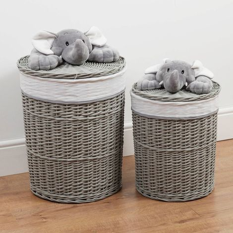 Bambino Set of 2 Round Wicker Laundry Baskets Plush Elephant
