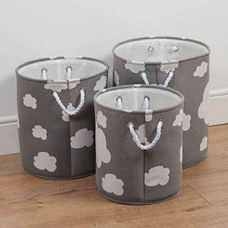 Bambino Set of 3 Round Fabric Storage Bins White Cloud Print