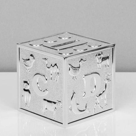 Bambino Silver Plated Money Box - Cube A B C