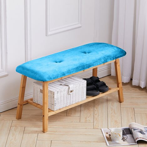 Bamboo 2 Tier Hallway Bench Shoe Rack Stand Organiser With Upholstered Seat - Blue