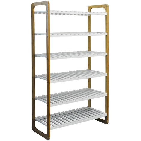 Bamboo 6 Shelf 24 Pair Shoe Storage Rack - White / Natural