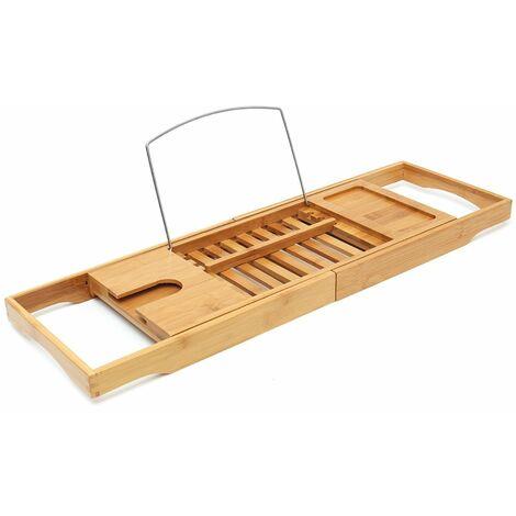 Bamboo Bath Shelf Caddy Luxury Slim Top Wooden Rack Storage Tidy Bath Bridge WASHED
